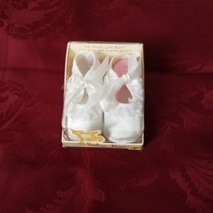 White Satin Baby Shoes Special Occasion Boxed
